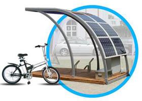 Estação de recarga de bicicletas elétricas com módulos fotovoltaicos utilizando filmes da Amcor fabricados com polímero ECTFE