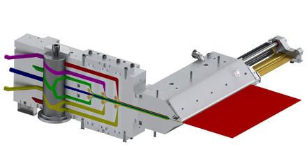 Esquema em corte do sistema de matrizes da Nordson EDI fornecido à Evertis de México mostra o bloco de alimentação Ultraflow™ V-S à esquerda e a matriz Ultraflex™ à direita, com um anteparo interno (componente na cor bronze) projetando-se a partir da matriz. A estrutura de laminado de sete camadas é assimétrica, com materiais diferentes acima e abaixo da camada central. O componente cilíndrico no bloco de alimentação é um tambor de seleção para alterações com o bloco à sequência de camadas. Os seis componentes amarelos em forma de gota nos pontos onde as camadas convergem são planos de combinação para ajuste fino das velocidades de combinação.