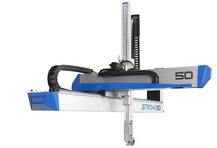 Robô Strong 50 foi projetado para máquinas injetoras de até 1600 toneladas de força de fechamento